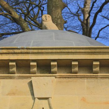 Private-Memorial-in-West-Sussex-Sandstone-and-Basalt-dome-(1)