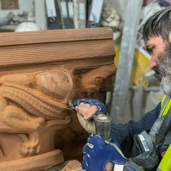 Carving detail to a Capital in Corsehill Sandstone