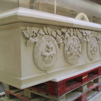 Carved-Crests-of-Gothic-Revival-Fireplace,-Surrey-(2)